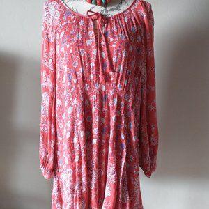 Free People Boho Mini Dress Floral Tassel